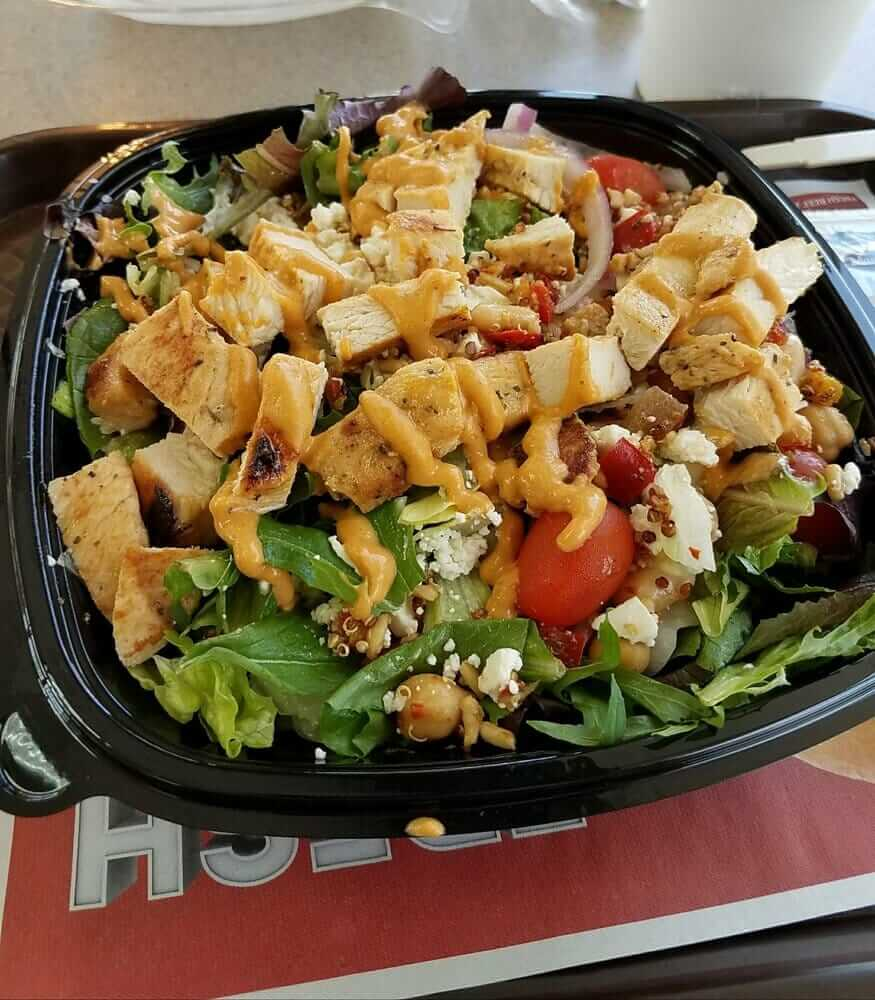 Top 11 Low-Calorie Fast Food Options   Wendy's Mediterranean Chicken Salad   FastFoodMenuPrices.com