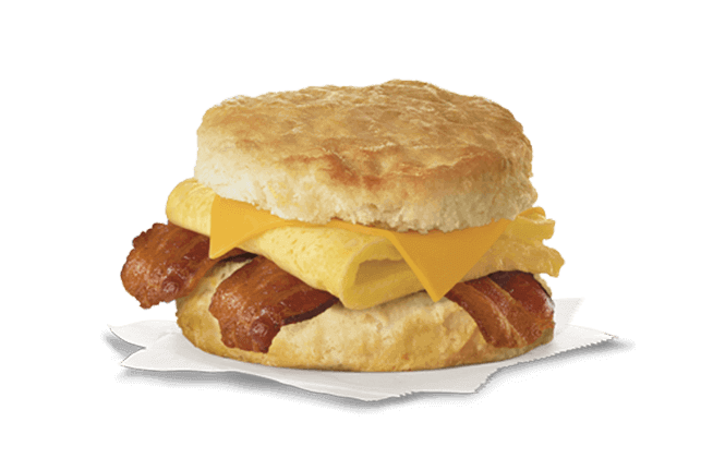 Chick-fil-A Breakfast Menu | Bacon, egg, and cheese biscuit | FastFoodMenuPrices.com