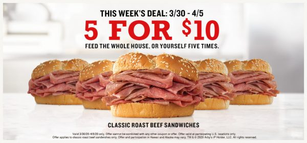 Arby's 5 for 10