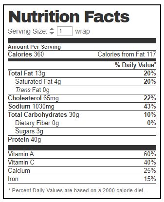 Nutrition for Chick Fil A Chicken Cool Wrap